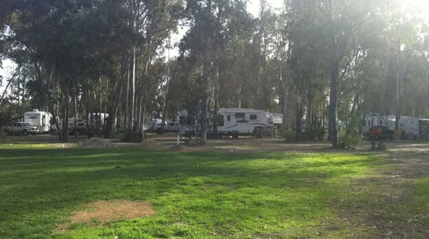a picture of trailers near grass